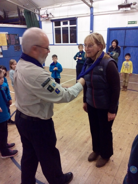 Heather being invested into the 3rd Bromley Beavers